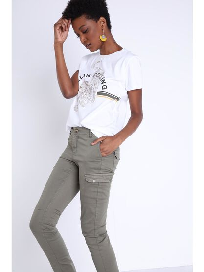 t shirt manches courtes brodes blanc