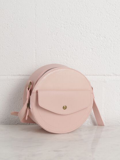 sac rond a bandouliere rose clair