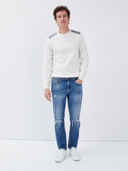 Jeans loose effet destroy denim used homme