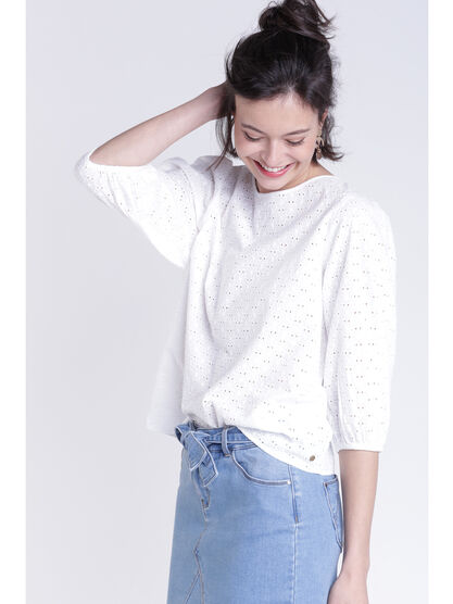 Blouse broderie anglaise blanc femme