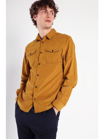 chemise manches longues poches camel