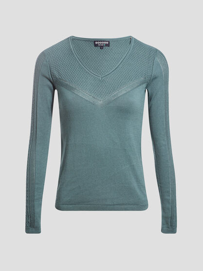 Pull manches longues ajoure vert fonce femme