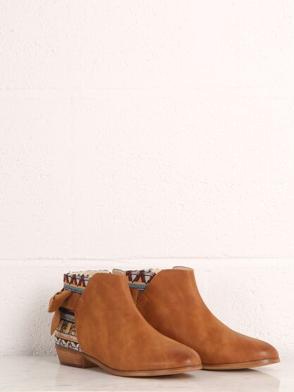 bottines a talon bimatiere marron
