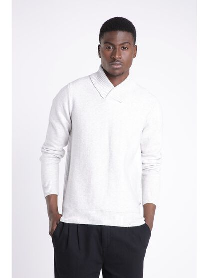Pull manches longues col chale ecru homme