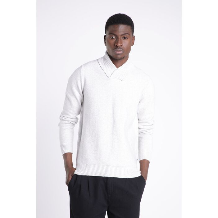Pull manches longues col châle ecru homme