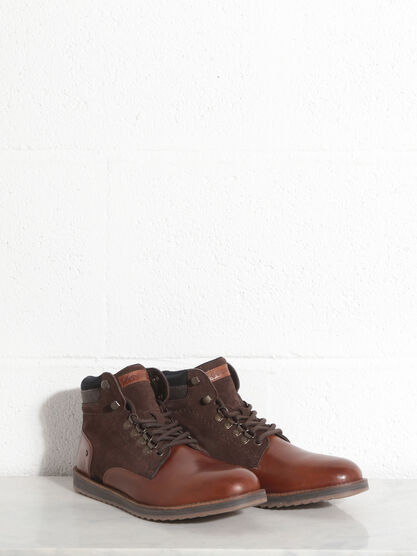 Bottines plates a lacets marron fonce homme