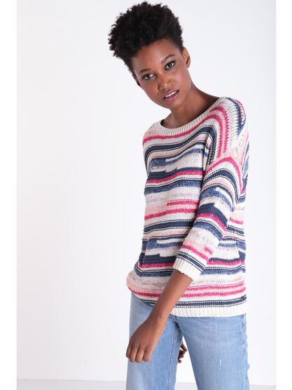 Pull manches 34 col rond rose fushia femme