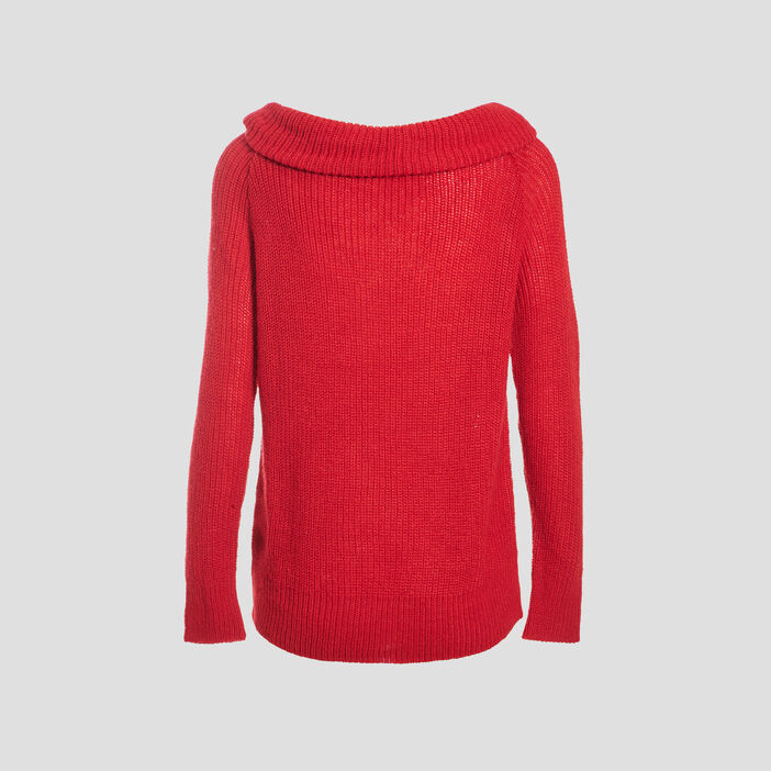 Pull manches longues rouge clair femme