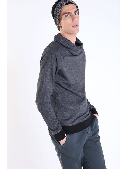 pull coupe droite col tube gris