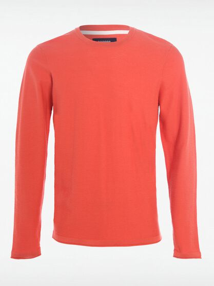 t shirt col arrondi homme uni orange fonce
