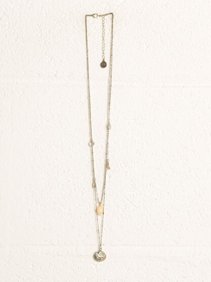 Collier 2 rangs coquillages couleur or femme