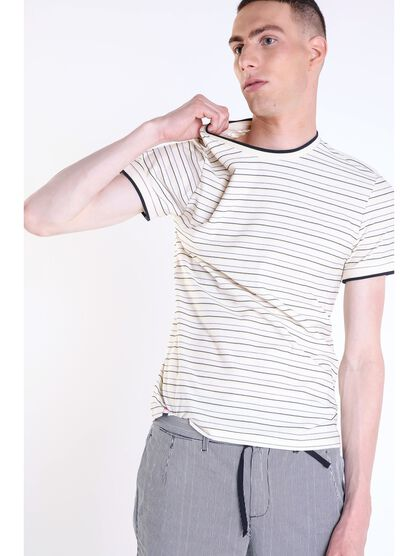 t shirt col rond homme rayures beige