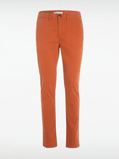 Pantalon Instinct chino slim orange fonce homme