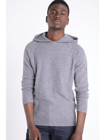Pull manches longues capuche gris homme