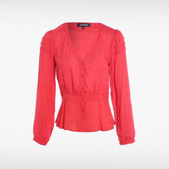 Blouse manches longues col V ROUGE