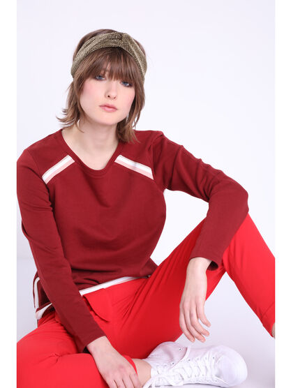 Sweat manches longues a galons rouge fonce femme