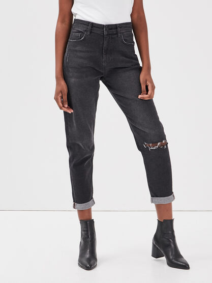 Jeans mom detail destroy denim noir femme