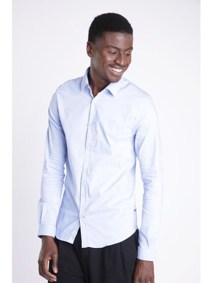 chemise super slim col simple bleu lavande