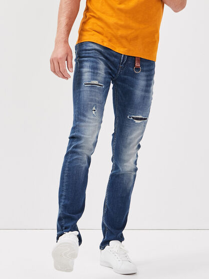Jeans slim details destroy denim dirty homme