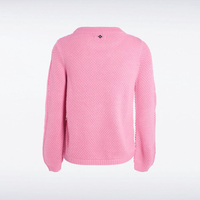 Pull col rond femme maille fantaisie ROSE