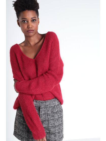 Pull manches longues col en V rouge clair femme