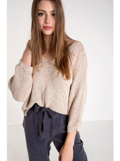 pull femme maille mouchetee beige