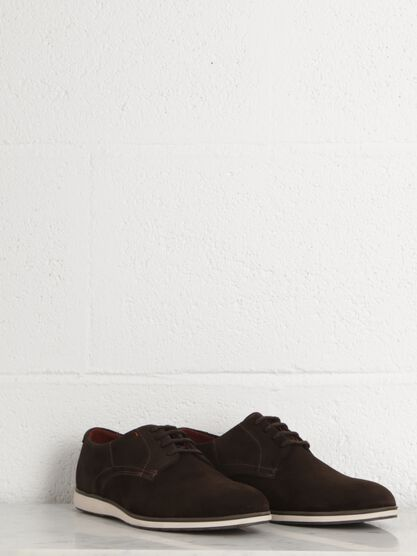 sneakers basses faon cuir velours homme marron fonce