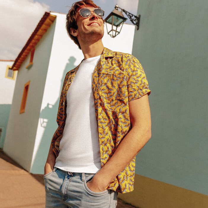 Chemise manches courtes jaune moutarde homme
