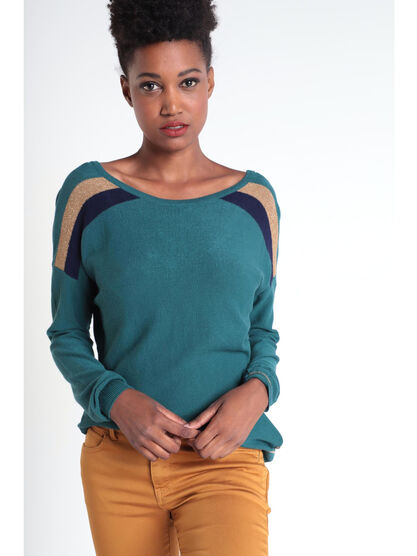 Pull manches longues a bandes vert canard femme