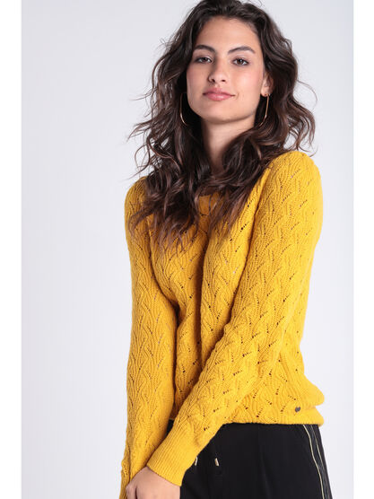 Pull manches longues torsade jaune moutarde femme