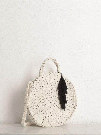 Sac bandouliere rond tresse beige femme