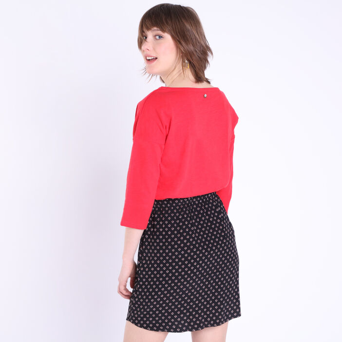 T-shirt manches 3/4 pin's rouge femme