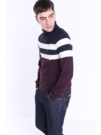 pull col roule homme a larges rayures bordeaux