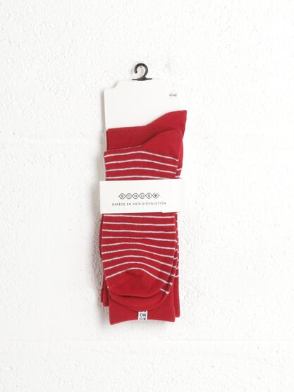 lot de 2 chaussettes rayees rouge