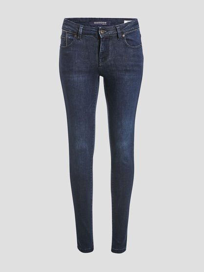 Jeans skinny details chaines denim stone femme