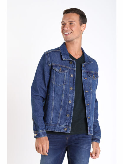 Veste droite boutonnee en jean denim stone homme