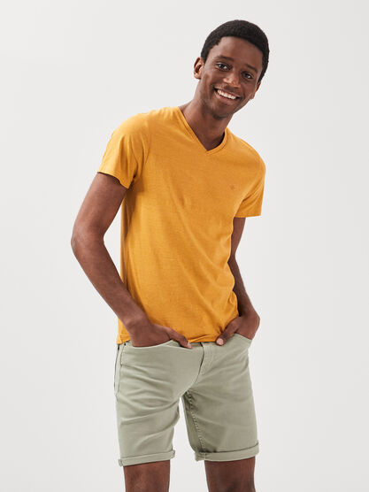 T shirt manches courtes jaune moutarde homme