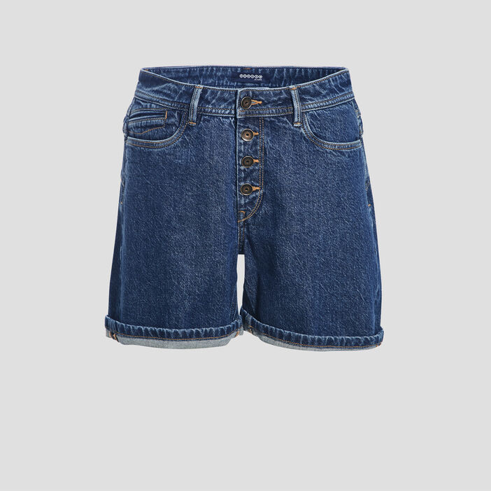 Short regular en jean denim brut femme
