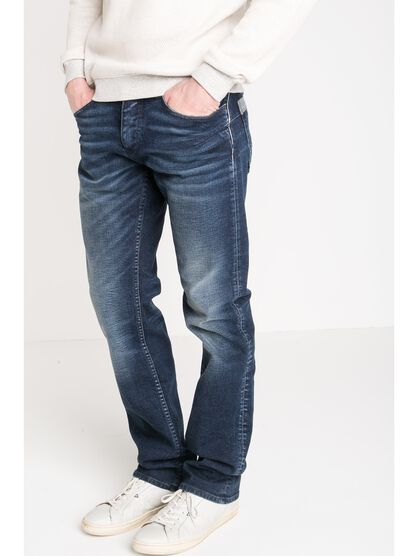 jeans regular homme embossage used denim stone