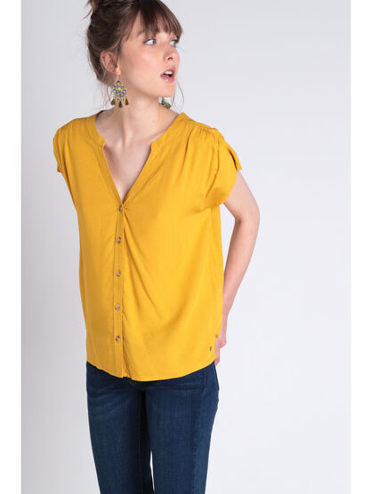 T shirt detail noeud jaune moutarde femme