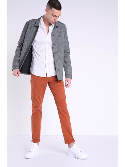 pantalon chino regular homme instinct orange fonce
