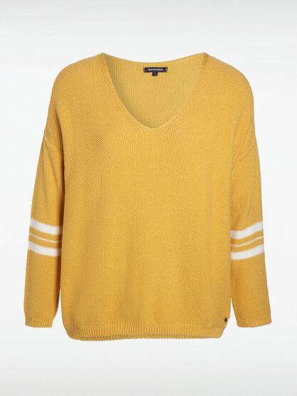 pull manches longues col v jaune moutarde