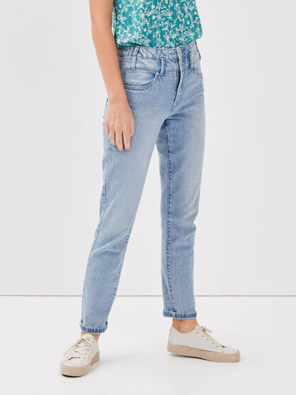 Jeans regular taille haute denim bleach femme