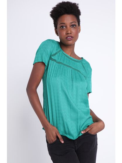 Blouse manches courtes vert turquoise femme