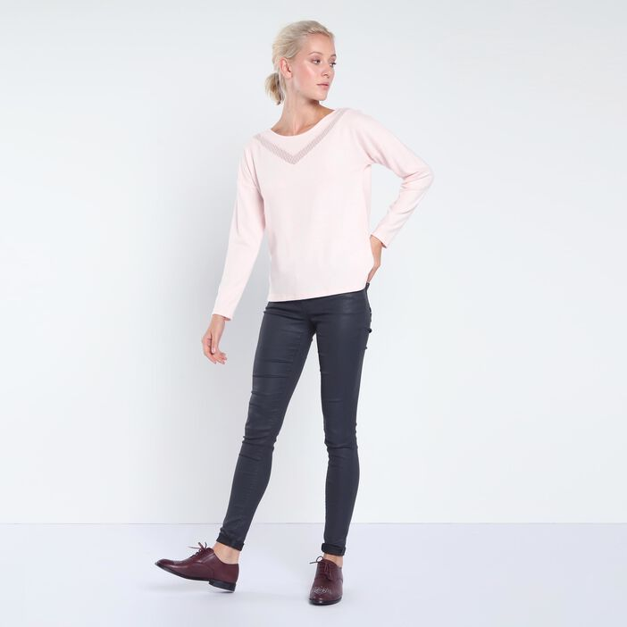 Pull col rond empiècement plumetis rose clair femme