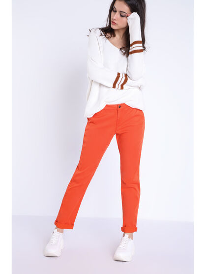 Pantalon chino Instinct orange femme