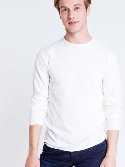 pull col rond homme maille fine instinct blanc