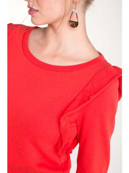 Sweat col arrondi volants rouge femme