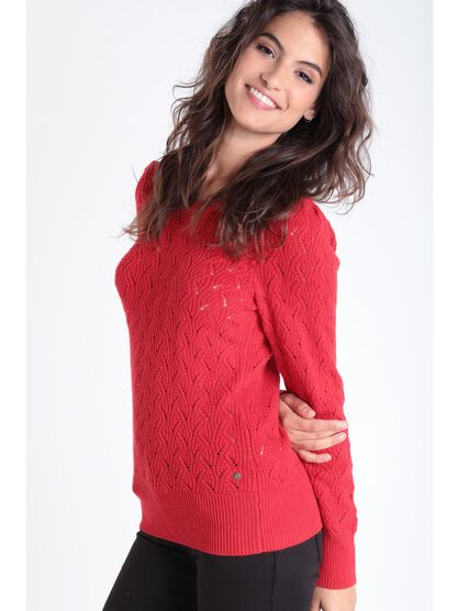 Pull manches longues torsade rouge fluo femme