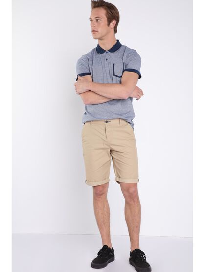 Bermuda chino a revers beige homme